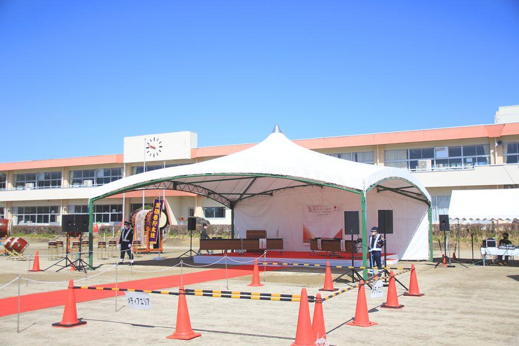 聖火リレー 那須塩原 テント 設営 会場 スポーツイベント